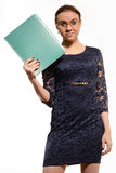 Nice positive cheerful businesswoman holding folder Royalty Free Stock Images