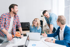 Free Nice Positive Colleagues Working Together Royalty Free Stock Photos - 84737128