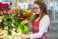 Nice positive flower seller holding water can. And watering flowers while being involved in work royalty free stock photos