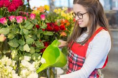 Nice positive flower seller holding water can. And watering flowers while being involved in work stock photos