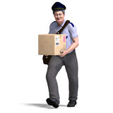 The nice postie carries a heavy package Stock Images