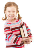 Nice preschool child holds textbooks Royalty Free Stock Photos
