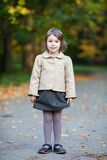 Nice preschooler girl in the autumn park. Small girl outdoor in the park with yellow leaves Royalty Free Stock Photography