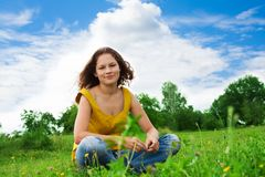 Nice pretty girl in park Royalty Free Stock Photo