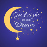 Nice print with text have a nice dream. Wishing card with moon and stars in gold colors on dark blue Royalty Free Stock Photo