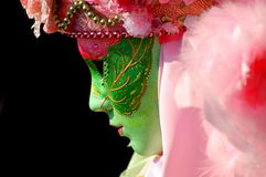 A nice profile .. A coloured sad carnival mask during the first official Carnival day in Venice Stock Photo