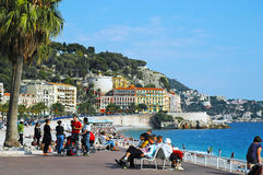Nice, promenade anglais. This world-famous boulevard was put on already in 1824 and was developed constantly; only in 1931 the promenade of the Anglais received Royalty Free Stock Images