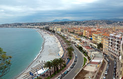 Nice - Promenade des Anglais from above. NICE, FRANCE - MAY 5: Promenade des Anglais from above on May 5, 2013 in Nice, France. It is a symbol of the Cote d'Azur royalty free stock photography
