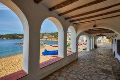 Nice promenade in a Spanish town Calella de Palafrugell in Costa Brava.  royalty free stock images
