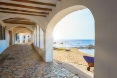 Nice promenade in a Spanish town Calella de Palafrugell in Costa Brava.  royalty free stock photo