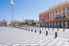 Nice, Provance, Alpes, Cote d`Azur, French, August 15, 2018;A view of the place Massena square with tramway rails, pavement built. stock photo