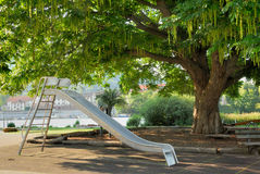 Nice public park with a slide Royalty Free Stock Photography