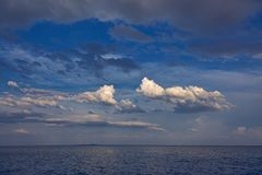 Nice quiet picture from a ocean and clouds in Costa Brava of Spain.  royalty free stock photography
