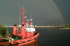 Nice rainbow view of port. Interesting raining photo and rainbow view of port Gdansk, Poland Stock Photo