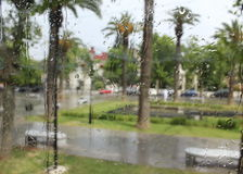 A nice and rainy day. Morocco through the glass in a rainy day Royalty Free Stock Images