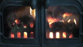 Nice Real fire with flames - metal stove stock video