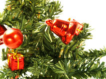 Nice red bell, bauble on Christmas tree Stock Photography