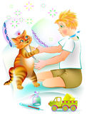 Nice red cat treats the sick boy. Illustration to the children`s tale. Stock Photography