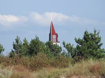 Beautiful church top with cross, Lithuania stock images