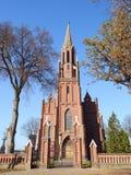 Old beautiful red catholic church, Lithuania stock photo