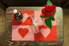 Nice red rose decorated table with two glass Stock Images
