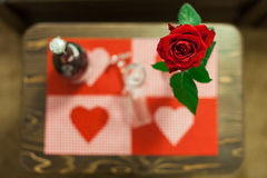 Nice red rose decorated table with two glass Stock Photos