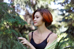 Nice redhead girl near a tree Stock Image