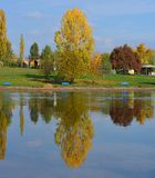 Nice reflection on the lake stock images
