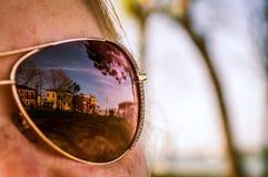 Reflection in mirror sunglasses of Burano, Venice stock photos