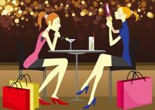 Nice Restaurant. Illustration elements: beautiful girls, drink, shopping bag, nice lighting stock illustration