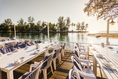 Nice restaurant on the beach of a tropical island. Koh Chang. Royalty Free Stock Photo