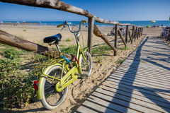 Nice retro vintage bicycle near beach, sunny day Royalty Free Stock Image