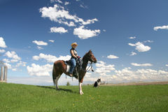 Nice Ride. Girl on Horseback, out Riding stock photography