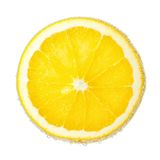 Nice ripe and juicy slice of an orange covered. With bubbles in soda water Stock Images