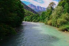 Nice river in the bavarian alps stock photo
