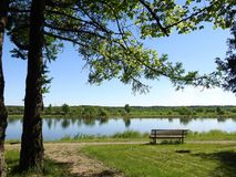 River Nemunas and beautiful spring trees, Lithuania Stock Image