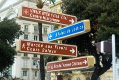 Nice - Road signpost Stock Photo