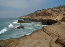 Nice rock cliff on California ocean. Taken at Cabriilo national monument park San Diego Royalty Free Stock Images