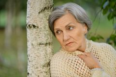 Nice sad old woman Royalty Free Stock Images