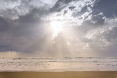 Nice sand beach coast with sunbeams Royalty Free Stock Image