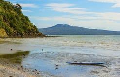 Karaka Bay Beach Auckland New Zealand. Nice sandy beach during morning low tide and view to Rangitoto Island Stock Photos