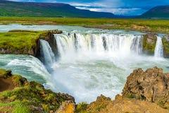 Nice scene of Godafoss Waterfall in summer