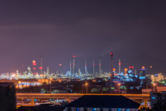 Nice scene of oil refinery power station at Lamchabang, Thailand. Royalty Free Stock Image