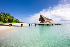 Nice scenery over beach with the water villas Royalty Free Stock Photography