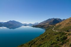 Nice scenic of Lake Wakatipu, Queentown, New Zealand stock photo