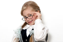 The nice schoolgirl in glasses Stock Photography