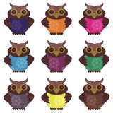 Nice scrapbook owls on white background Royalty Free Stock Photography