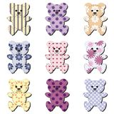 Nice scrapbook teddy bears on white Royalty Free Stock Image