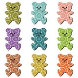 Nice scrapbook teddy bears on white Royalty Free Stock Photo