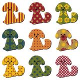 Nice scrapbook textile dogs on white Royalty Free Stock Photography